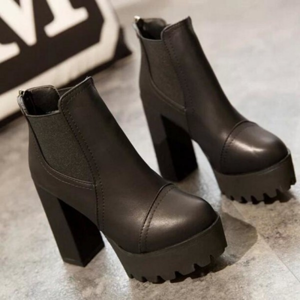 Women Motorcycle Boots Black High Heels Boots Lacing Platform Ankle Boots Chunky Plus Size Female Footwear Extra Image 4