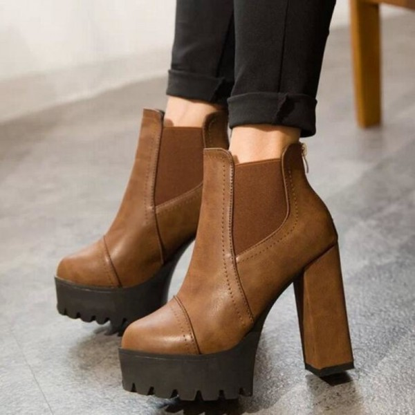 Women Motorcycle Boots Black High Heels Boots Lacing Platform Ankle Boots Chunky Plus Size Female Footwear Extra Image 5