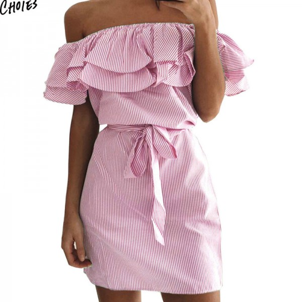 Women Off the Shoulder Striped Layered Ruffle Tie Waist Mini Dress Summer 2 Colors Backless Casual Shift Streetwear Extra Image 1