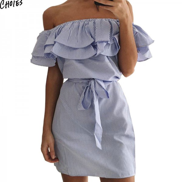 Women Off the Shoulder Striped Layered Ruffle Tie Waist Mini Dress Summer 2 Colors Backless Casual Shift Streetwear Extra Image 4