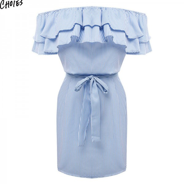Women Off the Shoulder Striped Layered Ruffle Tie Waist Mini Dress Summer 2 Colors Backless Casual Shift Streetwear Extra Image 5