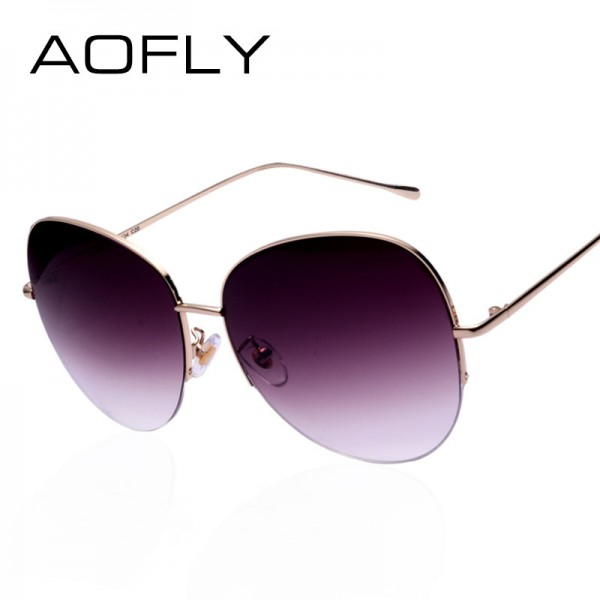 9e9cfe2bba Buy Women Oversize Sunglasses Metal Semi Rimless Glasses Fashion Vintage  Summer Style Outdoor Sport Sunglasses Men