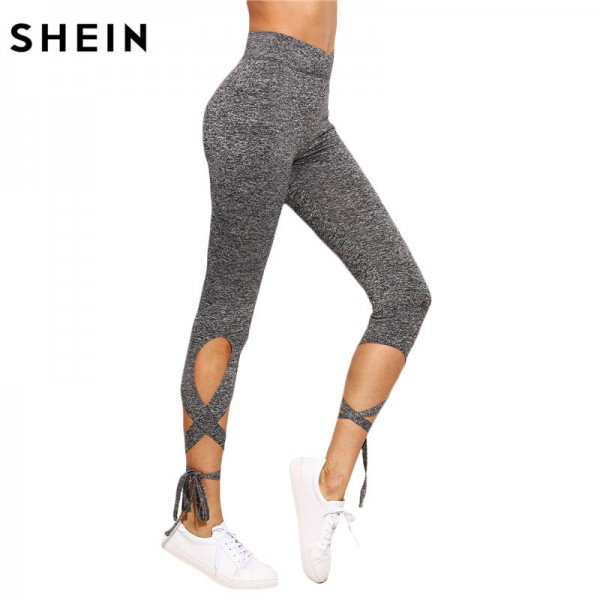 Women Pants Trousers for Ladies Fitness Plain Light Grey High Waist Crisscross Tie Fitness Elastic Leggings Extra Image 1