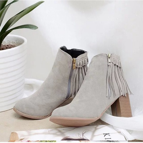 Women Pointed Toe Ankle Boots Fashion Faux Fur Suede Tassel Winter Thick heel Boots Female Leather Shoes Extra Image 2