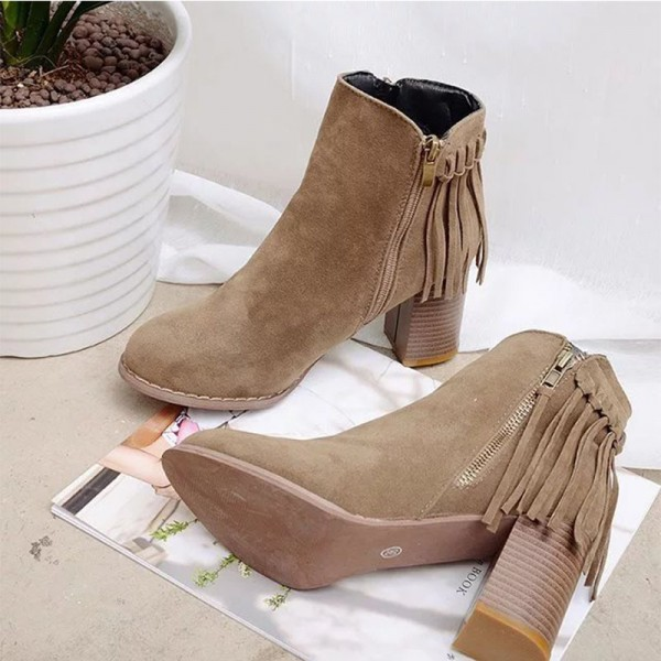Women Pointed Toe Ankle Boots Fashion Faux Fur Suede Tassel Winter Thick heel Boots Female Leather Shoes Extra Image 3