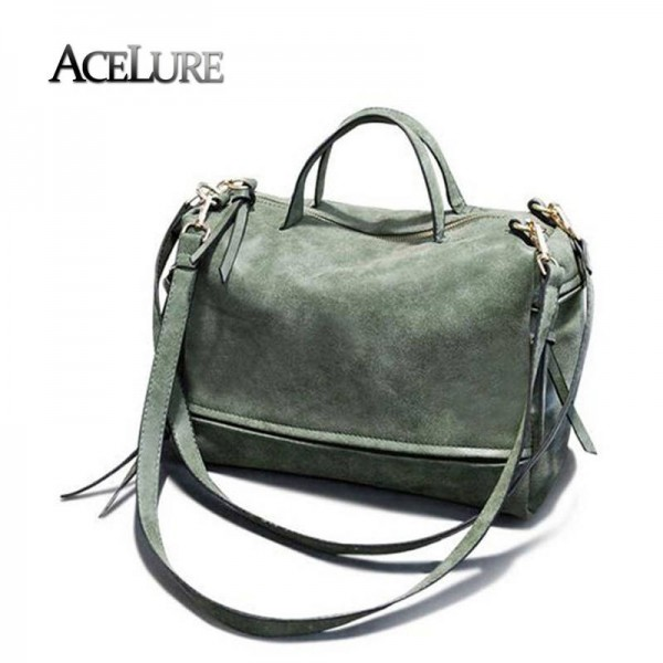 Women Pu Leather Handbags Female Vintage Nubuck Crossbody Bags Tote Bags Motorcycle Ladies Bags Thumbnail