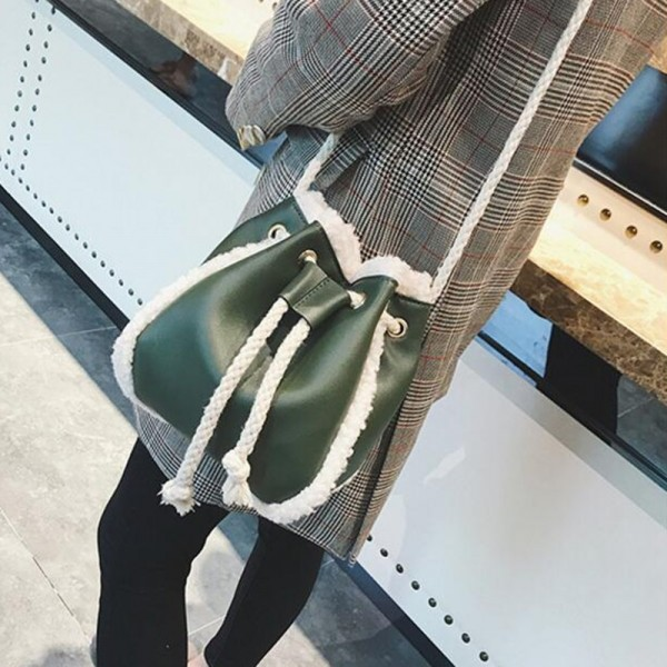 Women Pu Suede Soft Leather Bag Vintage Women Messenger Bag Shoulder Backpack Bucket Female Winter Bag Extra Image 3