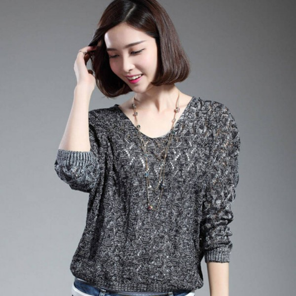 Women Pullover Lady Bat Sleeve Casual Hollow Out Transparent Thin Sexy Sweaters Women Extra Images 1