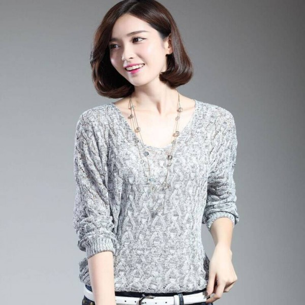 Women Pullover Lady Bat Sleeve Casual Hollow Out Transparent Thin Sexy Sweaters Women Extra Images 2
