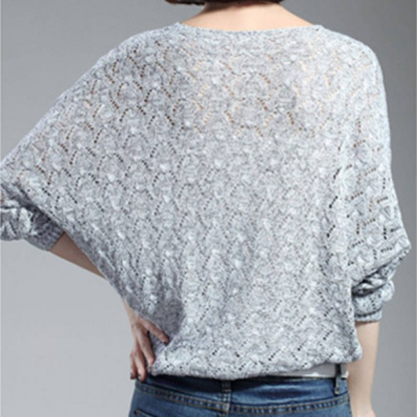 Women Pullover Lady Bat Sleeve Casual Hollow Out Transparent Thin Sexy Sweaters Women Extra Images 3