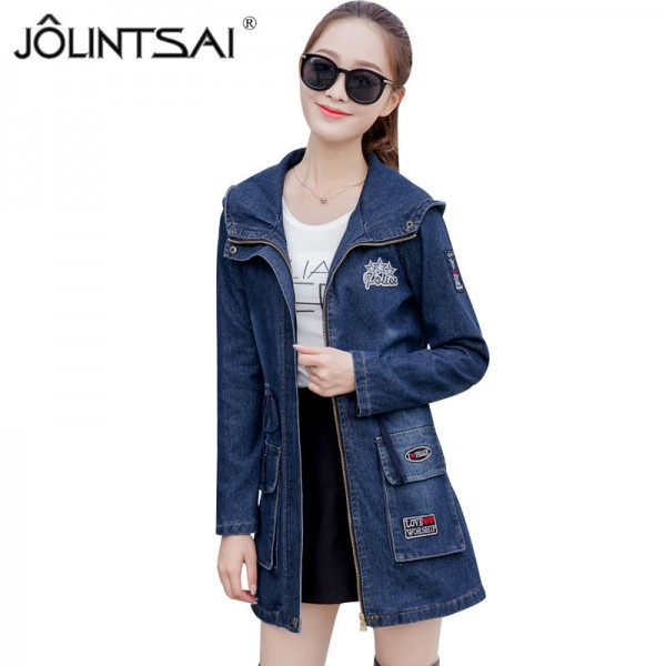 Women Ripped Jackets New Fashion Casual Hooded Denim Jacket For Woman Ladies Jeans Outwear Long Sleeve Zipper Coat Extra Image 1