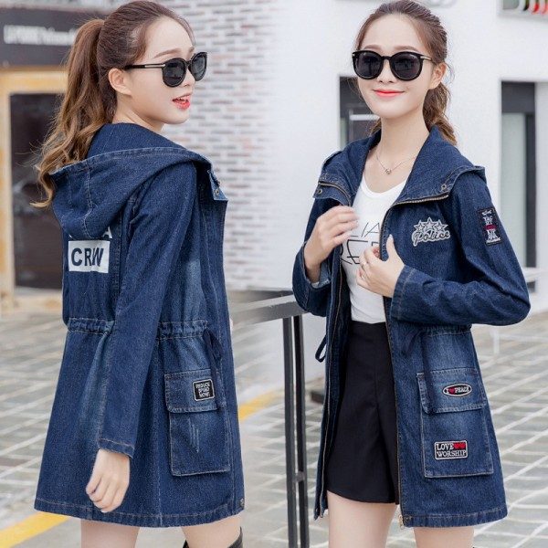 Women Ripped Jackets New Fashion Casual Hooded Denim Jacket For Woman Ladies Jeans Outwear Long Sleeve Zipper Coat Extra Image 2