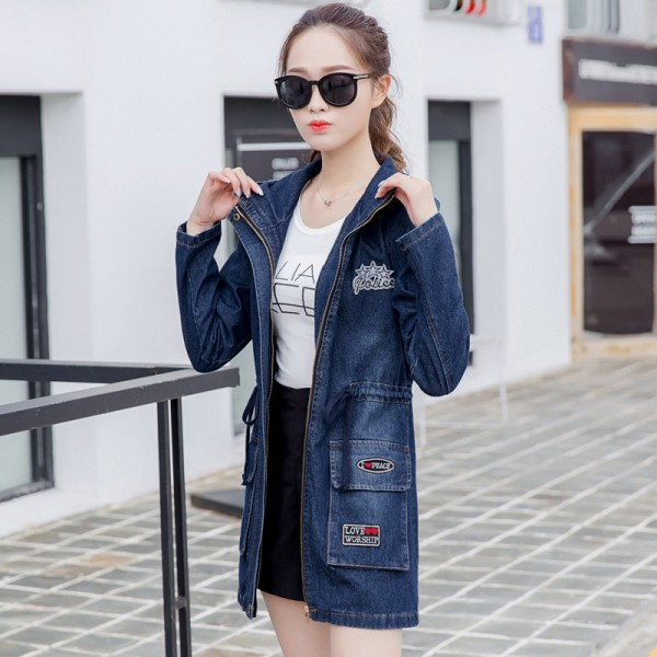 Women Ripped Jackets New Fashion Casual Hooded Denim Jacket For Woman Ladies Jeans Outwear Long Sleeve Zipper Coat Extra Image 4