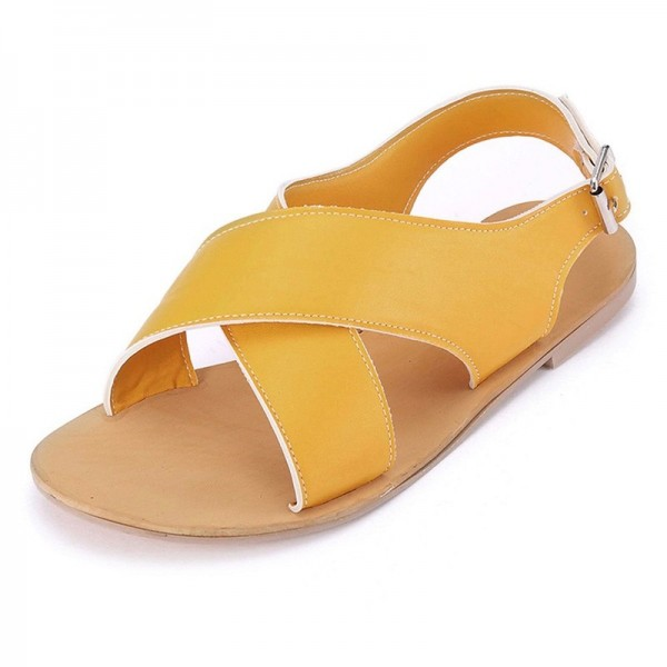 Women Round Toe Breathable Buckle Strap Beach Sandals Rome Gladiator Design Casual Flat Shoes Extra Image 2