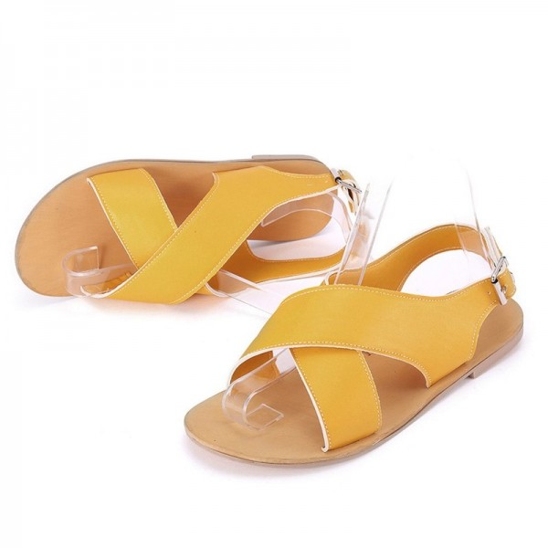 Women Round Toe Breathable Buckle Strap Beach Sandals Rome Gladiator Design Casual Flat Shoes Extra Image 3