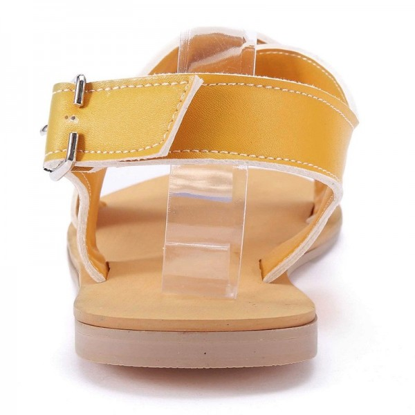 Women Round Toe Breathable Buckle Strap Beach Sandals Rome Gladiator Design Casual Flat Shoes Extra Image 5