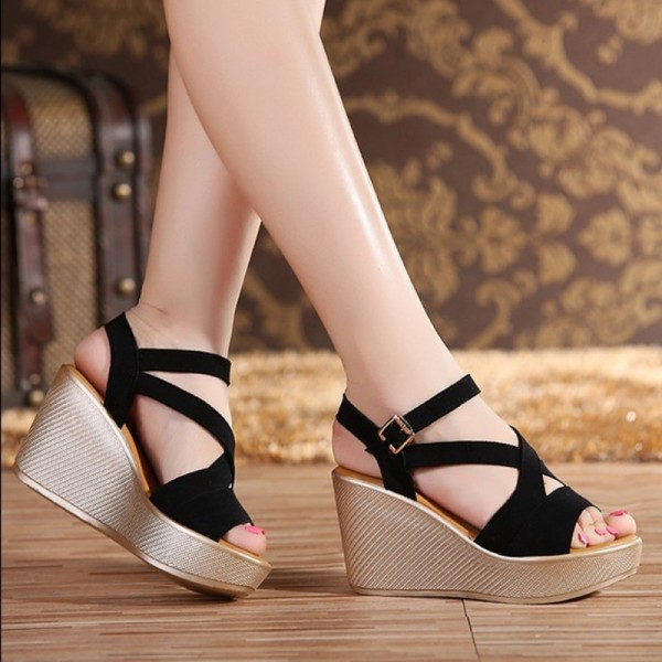 ef0db70eb414 ... Heel Fish Head Wedge Sandals Female Shoes Extra  Black Black ...