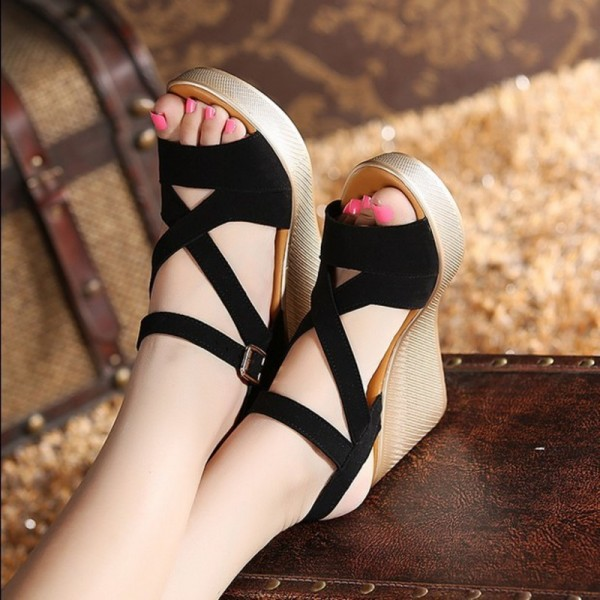 Women Sandals New Summer Style Open Toe High Heel Fish Head Wedge Sandals Female Shoes Extra Image 1