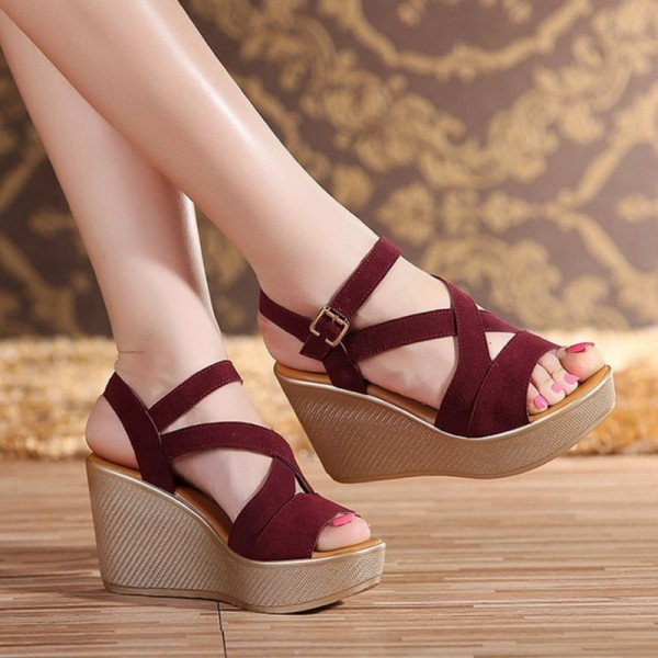 Women Sandals New Summer Style Open Toe High Heel Fish Head Wedge Sandals Female Shoes Extra Image 2