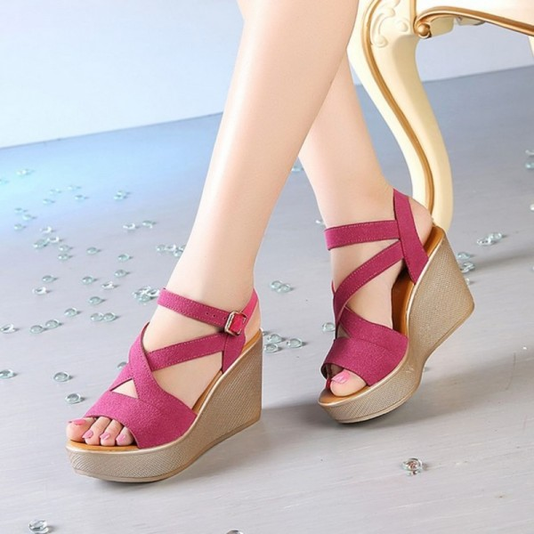 Women Sandals New Summer Style Open Toe High Heel Fish Head Wedge Sandals Female Shoes Extra Image 3