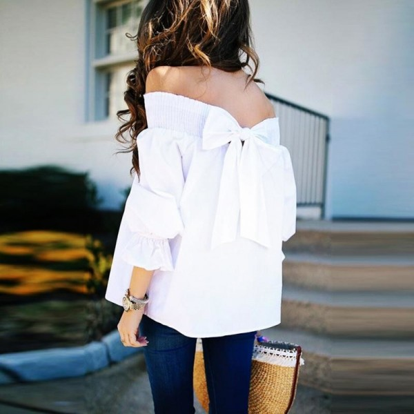 Women Sexy Off Shoulder Bow knot Long Sleeve Autumn Winter Shirt Blousa Loose Fashion Solid Color T Shirt Tops Extra Image 3
