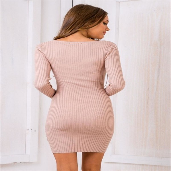 Women Sexy V Neck Dresses Knitted Dress Above Knee Bandage Sexy Mini Pretty Inner Dress For Ladies Extra Image 2
