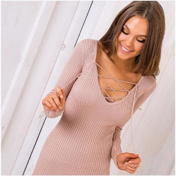 Women Sexy V Neck Dresses Knitted Dress Above Knee Bandage Sexy Mini Pretty Inner Dress For Ladies Extra Image 5