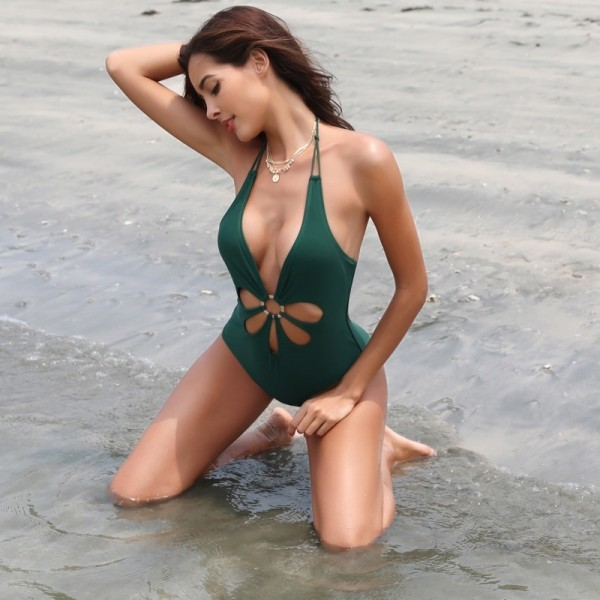 Women Sexy V Neck High Cut Halter One Piece Backless Bikini Swimsuits Floral Cut Front Side One Piece Swimsuit Extra Image 2