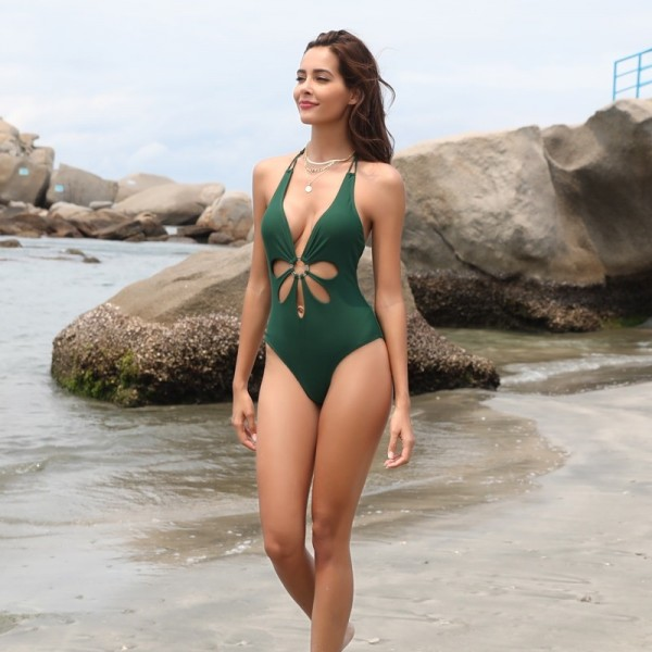 Women Sexy V Neck High Cut Halter One Piece Backless Bikini Swimsuits Floral Cut Front Side One Piece Swimsuit Extra Image 3