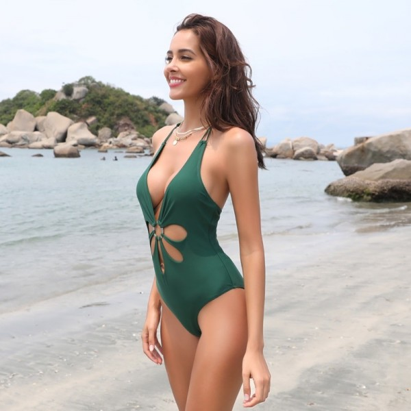 Women Sexy V Neck High Cut Halter One Piece Backless Bikini Swimsuits Floral Cut Front Side One Piece Swimsuit Extra Image 4
