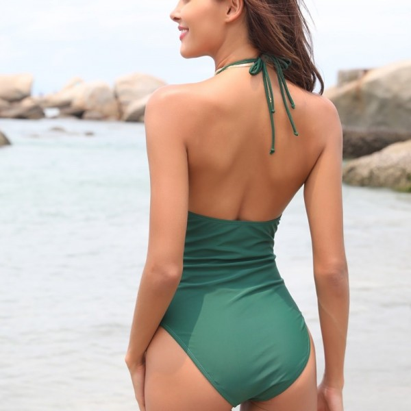 Women Sexy V Neck High Cut Halter One Piece Backless Bikini Swimsuits Floral Cut Front Side One Piece Swimsuit Extra Image 5