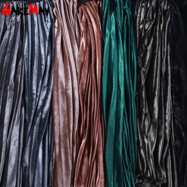 Women Skirt Pleated Jupe Femme Long Warm High Waist Skirts For Women Elegant Female Green Velvet Skirts Retro Extra Image 6