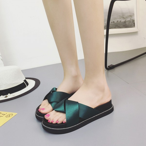 Women Slides Bright Color 2018 Summer Style Creepers Concise Flat with Slippers for Woman Size 35 40 Extra Image 5