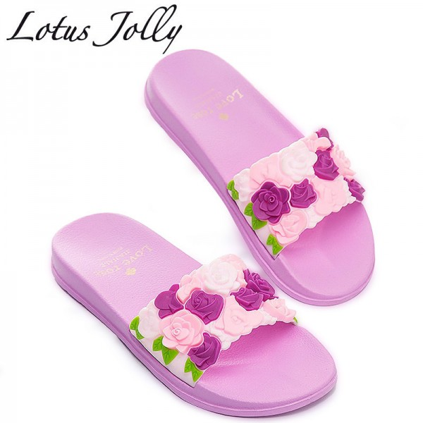 Women Slides Rose Lovely Flower Home Slippers Platform Thick Soled Sandals Women Shoes Flip Flops Zapatillas Mujer Extra Image 1