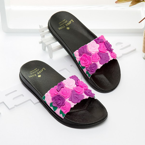 Women Slides Rose Lovely Flower Home Slippers Platform Thick Soled Sandals Women Shoes Flip Flops Zapatillas Mujer Extra Image 2