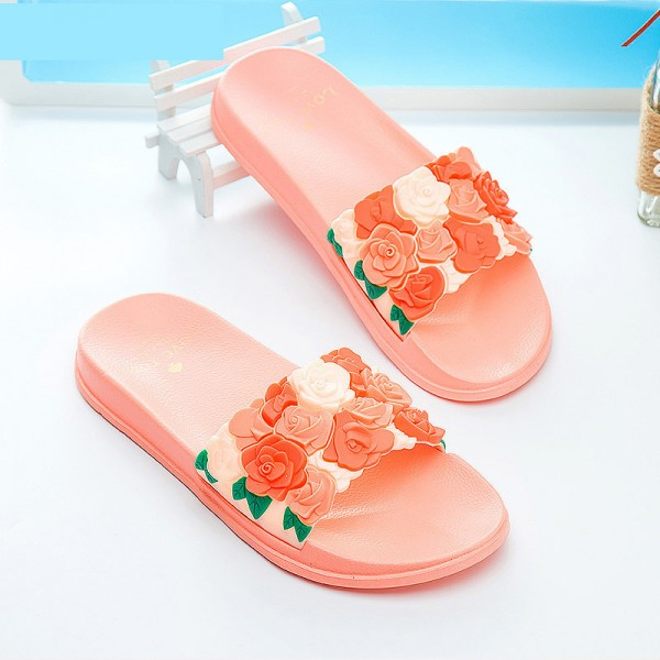 Women Slides Rose Lovely Flower Home Slippers Platform Thick Soled Sandals Women Shoes Flip Flops Zapatillas Mujer Extra Image 3