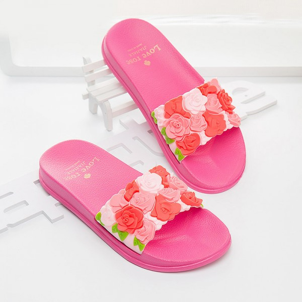 197935c09ed Buy Women Slides Rose Lovely Flower Home Slippers Platform Thick Soled  Sandals Women Shoes Flip Flops Zapatillas Mujer
