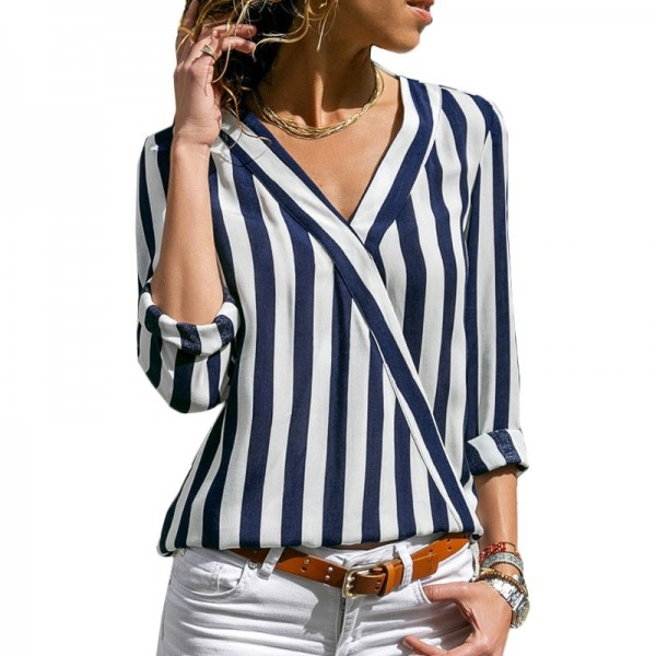 Women Striped Blouse Shirt Long Sleeve Blouse Shirts Casual V Neck Tops Blouse Mujer de Moda 2019
