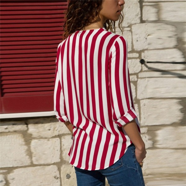 Women Striped Blouse Shirt Long Sleeve Blouse Shirts Casual V Neck Tops Blouse Mujer de Moda 2019 Extra Image 5
