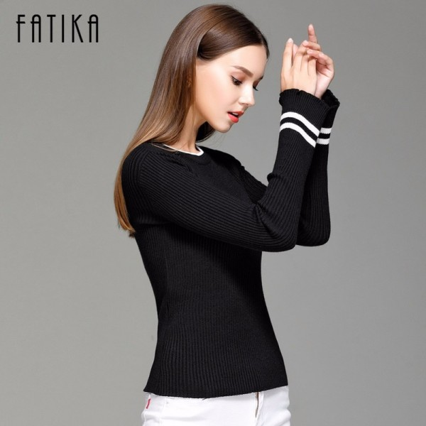 Women Striped Flare Sleeve Fashion Pullover and Sweater Autumn Winter Female Soft Comfortable Warm Slim Pullovers Extra Image 2