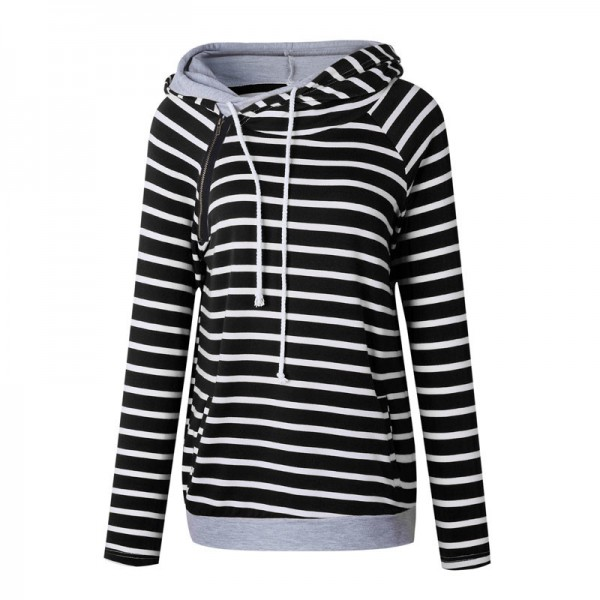 Women Striped Hoodies Sweatshirts 2019 Autumn Winter Fashion Loose Hooded Sweatshirts Plus Size