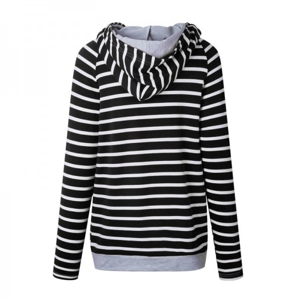 Women Striped Hoodies Sweatshirts 2019 Autumn Winter Fashion Loose Hooded Sweatshirts Plus Size Extra Image 1