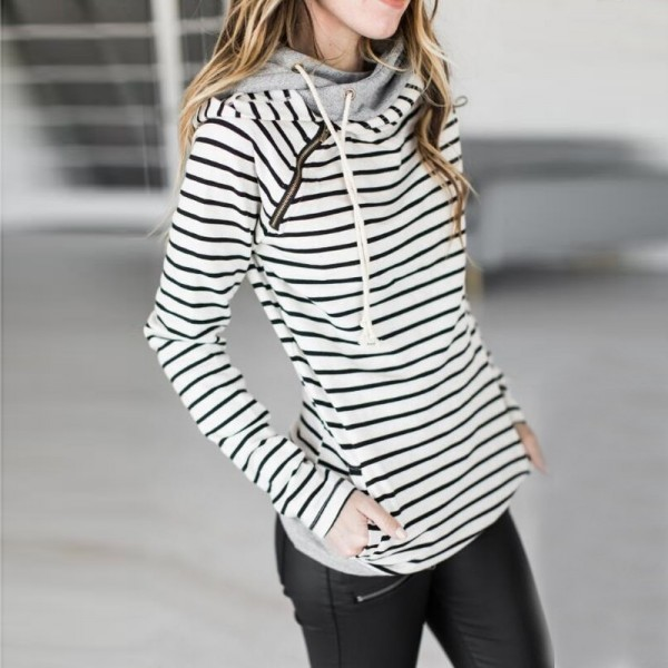 Women Striped Hoodies Sweatshirts 2019 Autumn Winter Fashion Loose Hooded Sweatshirts Plus Size Extra Image 3