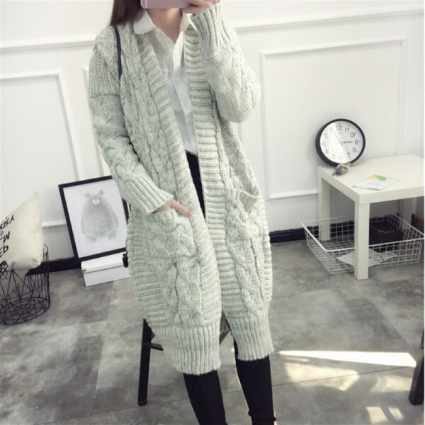 Women Sweaters Autumn Winter Casual Loose Knitting Twisted Cardigan Sweater Thicken Female Long Cardigans pull femme Extra Image 3