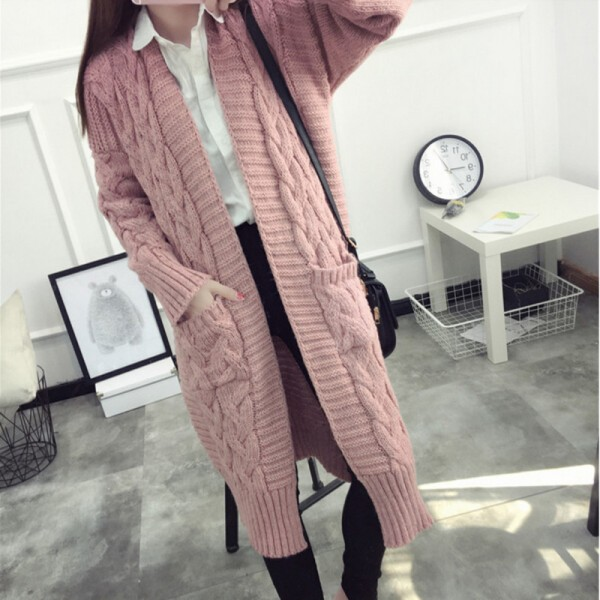 Women Sweaters Autumn Winter Casual Loose Knitting Twisted Cardigan Sweater Thicken Female Long Cardigans pull femme Extra Image 5