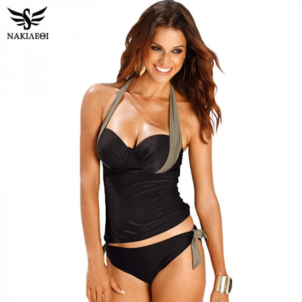 Women Swimwear Sexy Push Up Tankini Set Vintage High Waisted Bathing Suit Summer Beach Suit Plus Size Thumbnail