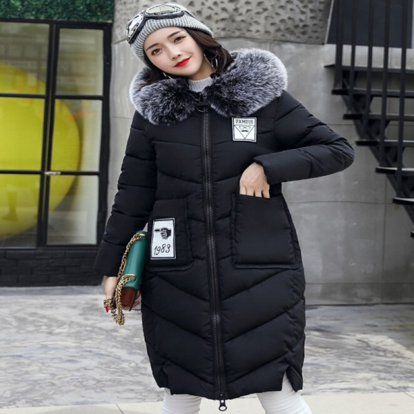 Women Winter Coat Jacket Thick Warm Woman Parkas Medium Long Female Overcoat Fur Collar Hooded Cotton Padded Coats Extra Image 2