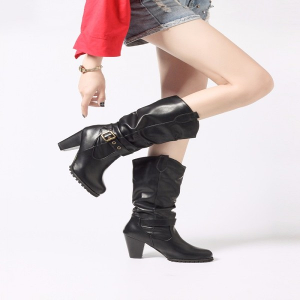 Women Winter Shoes  Long Boots Pointed Mid Calf Ladies Boots Leather Stitching  High heel Boot Button Boot Extra Image 3