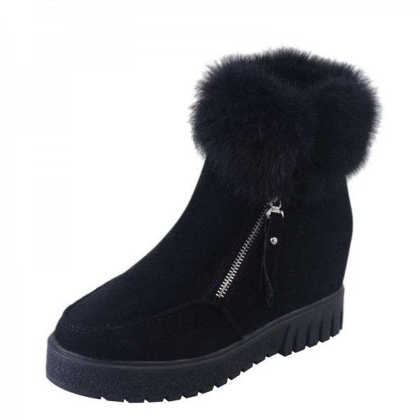 Women Zipper Ankle Boots New Fashion Plus Velvet Heightening Boots Wedge Platform Winter Warm Snow Shoes For Female Extra Image 2
