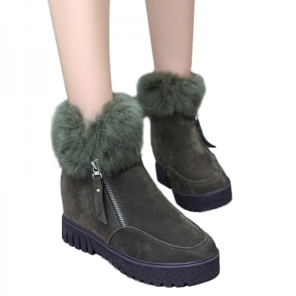 Women Zipper Ankle Boots New Fashion Plus Velvet Heightening Boots Wedge Platform Winter Warm Snow Shoes For Female Extra Image 4